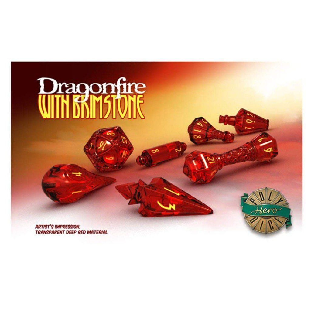 PolyHero Dice Dados RPG Wizard Set - Dragonfire with Brimstone  - Mercado RPG