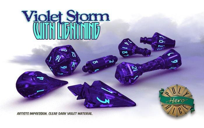 PolyHero Dice Wizard Set - Violet Storm with Lighting  - Mercado RPG