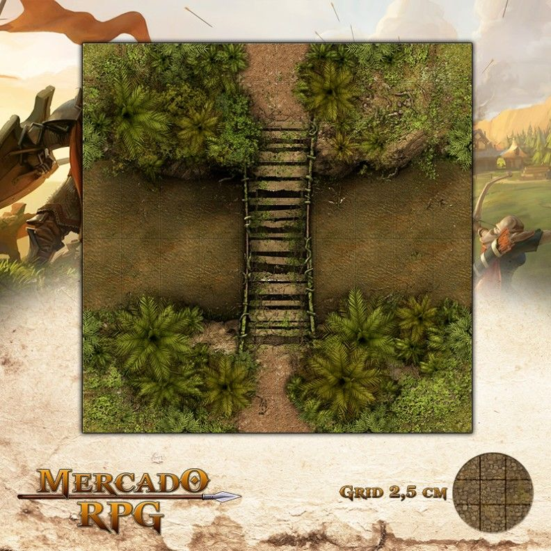 Ponte Águas Turvas 25x25 - RPG Battle Grid D&D  - Mercado RPG