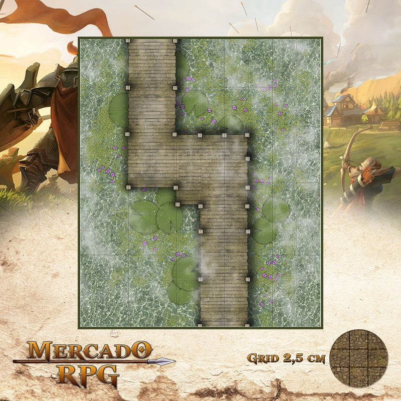 Ponte do Pantâno 25x30 Grid de Batalha - RPG Battle Grid D&D