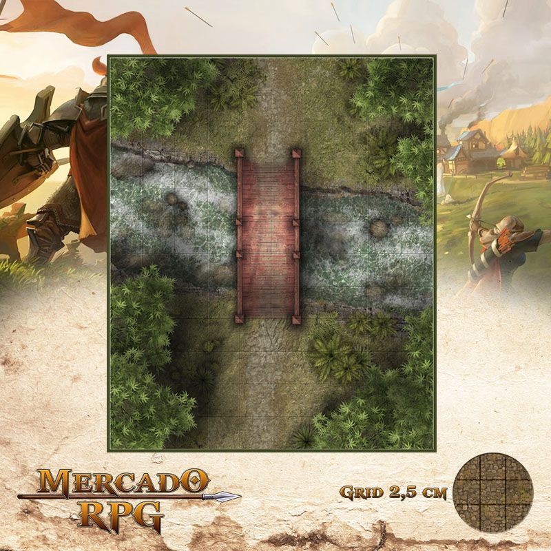 Ponte Sobre Rio 25x30 - RPG Battle Grid D&D