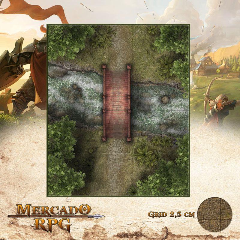 Ponte Sobre Rio 25x30 Grid de Batalha - RPG Battle Grid D&D