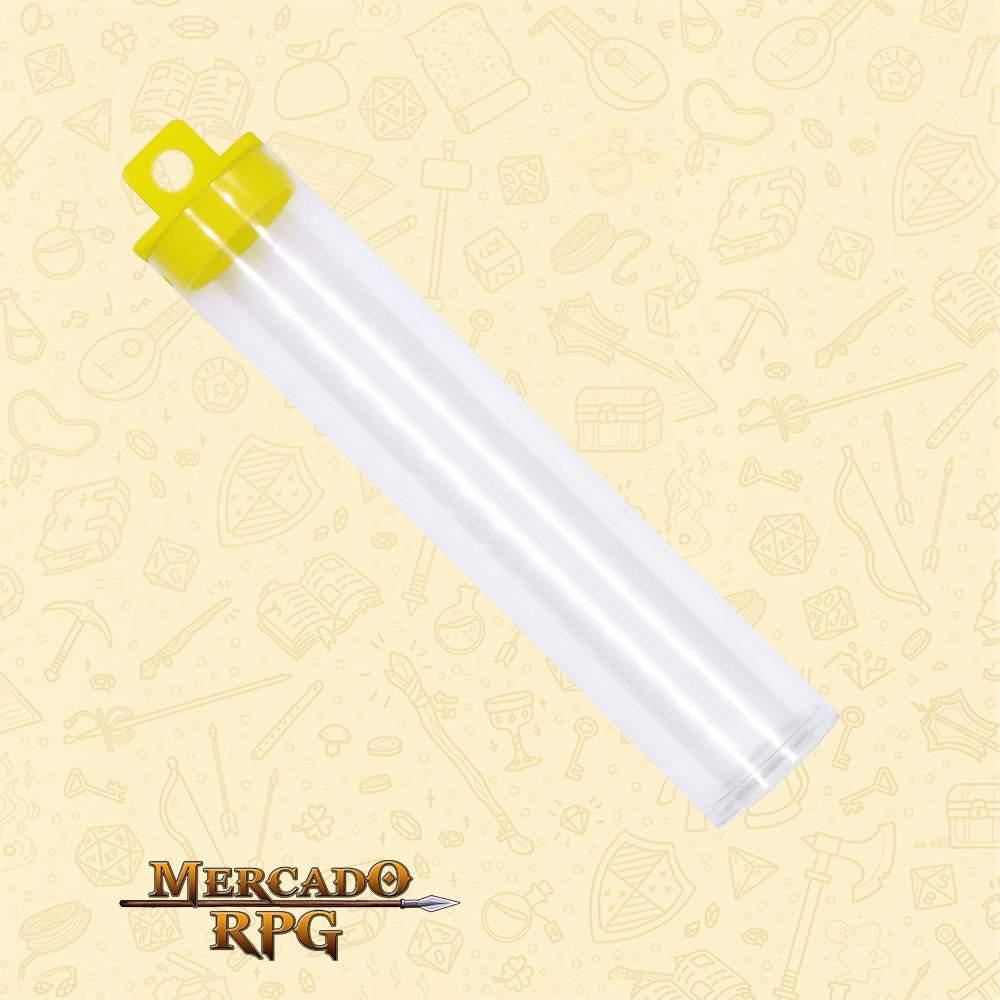 Porta Dados de RPG em Tubo - Amarelo - Basilisco Dados - Mercado RPG