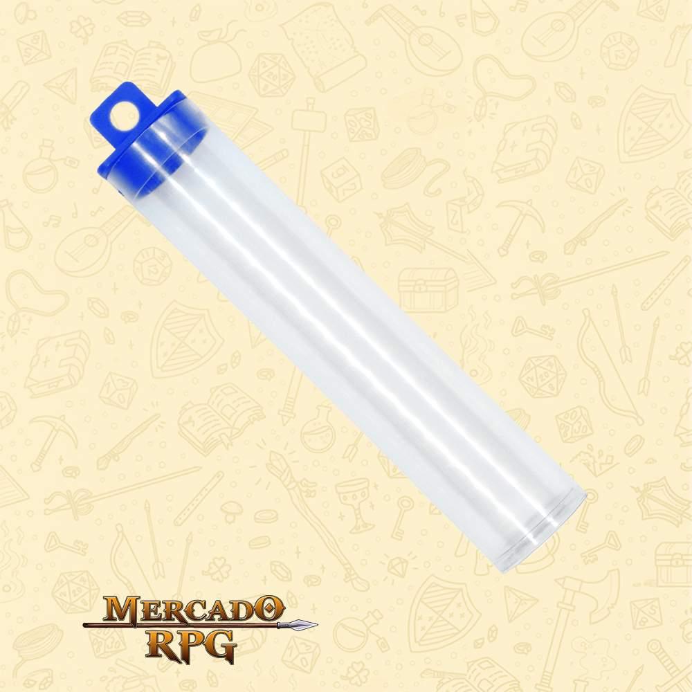 Porta Dados de RPG em Tubo - Azul - Basilisco Dados - Mercado RPG