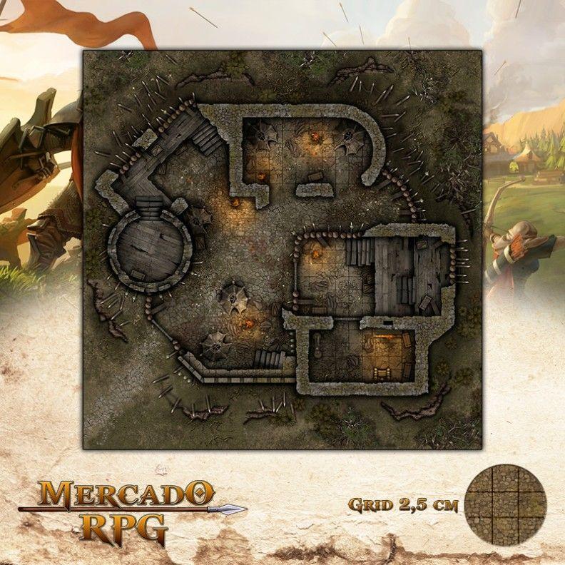 Posto Avançado Dia 75x75 Grid de Batalha - RPG Battle Grid D&D