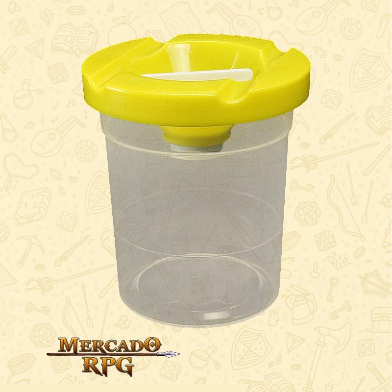 Pote de Plástico Lava Pincel com Tampa Amarela - KERAMIK - RPG
