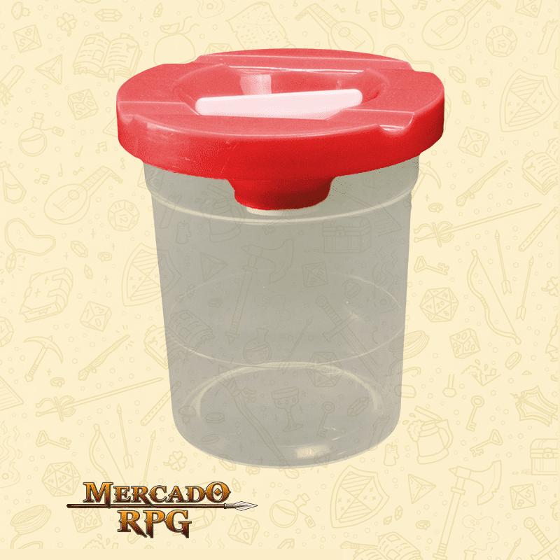 Pote de Plástico Lava Pincel com Tampa Vermelha - Keramik - RPG