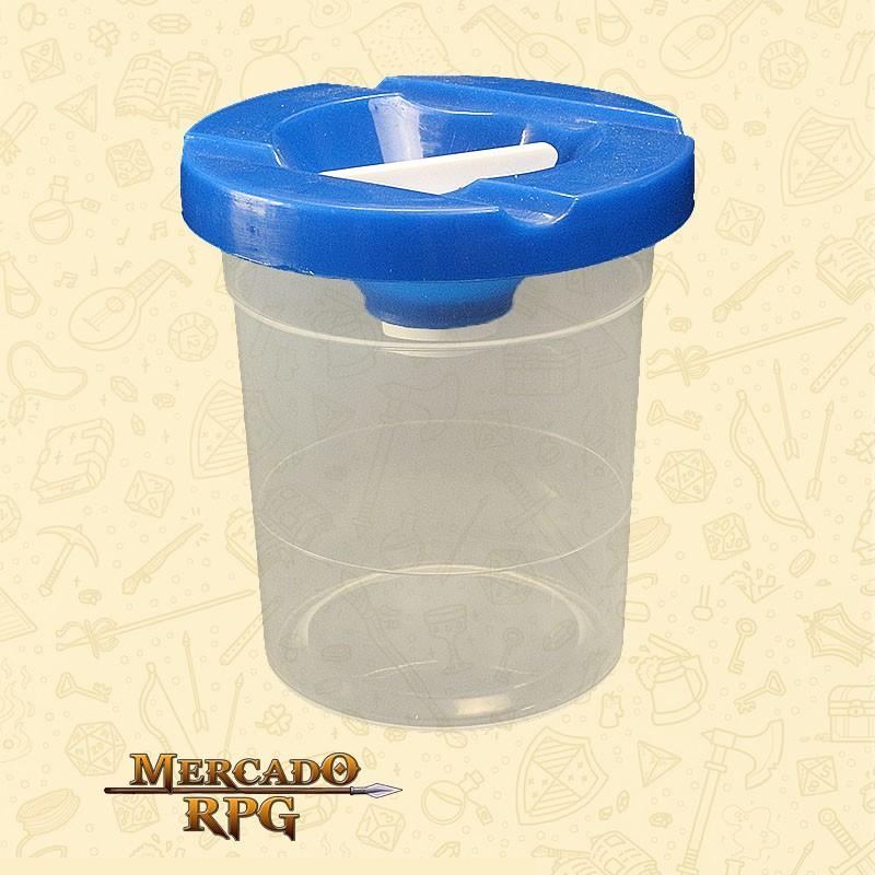 Pote de Plástico Lava Pincel com Tampa Azul - Keramik - RPG