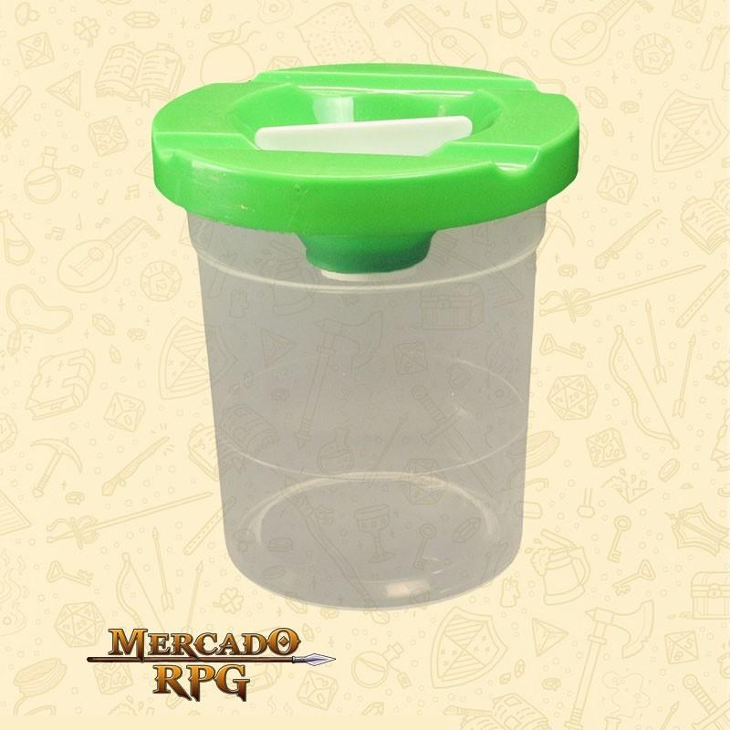 Pote de Plástico Lava Pincel com Tampa Verde - KERAMIK - RPG