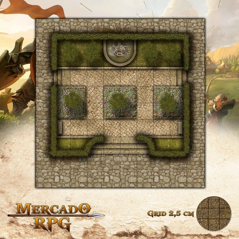 Praça do Centro Cívico Grid de Batalha - RPG Battle Grid D&D
