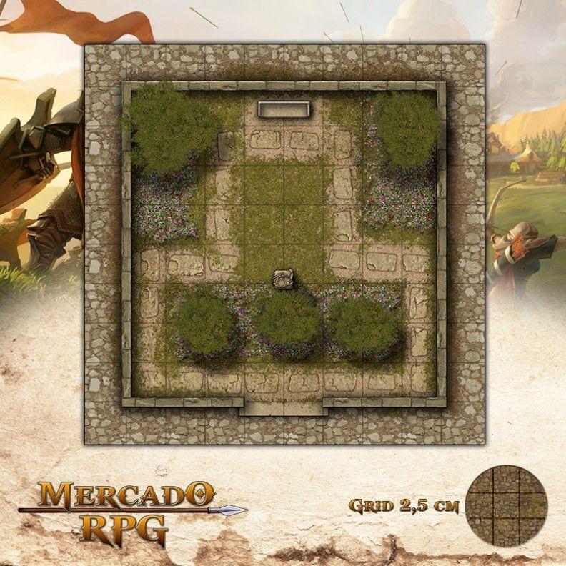Praça do Jardim 25x25 Grid de Batalha - RPG Battle Grid D&D