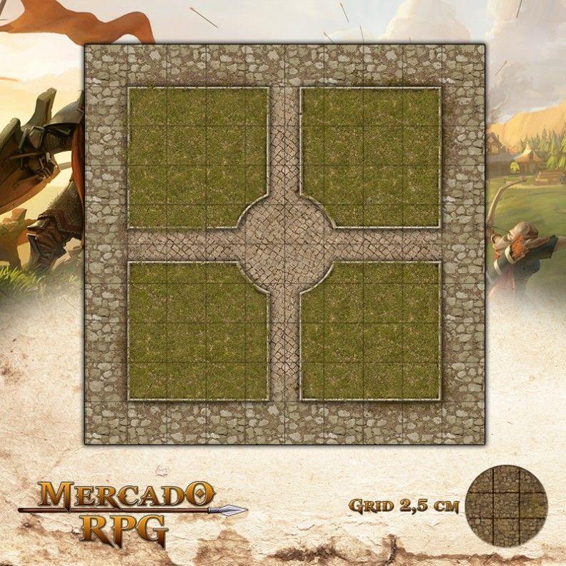 Praça Principal25x25 Grid de Batalha - RPG Battle Grid D&D