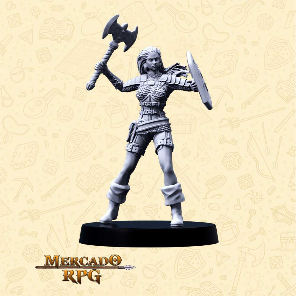 Anaya Kalimbe - Basilisco Miniaturas - Metal Branco - Miniaturas para RPG