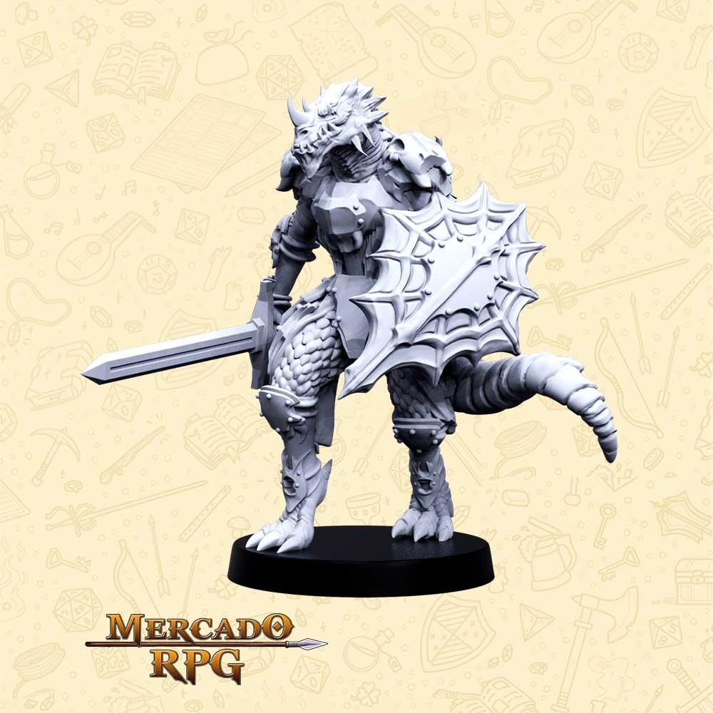 Nargrax Escama Rubra - Basilisco Miniaturas - Metal Branco - Miniaturas para RPG