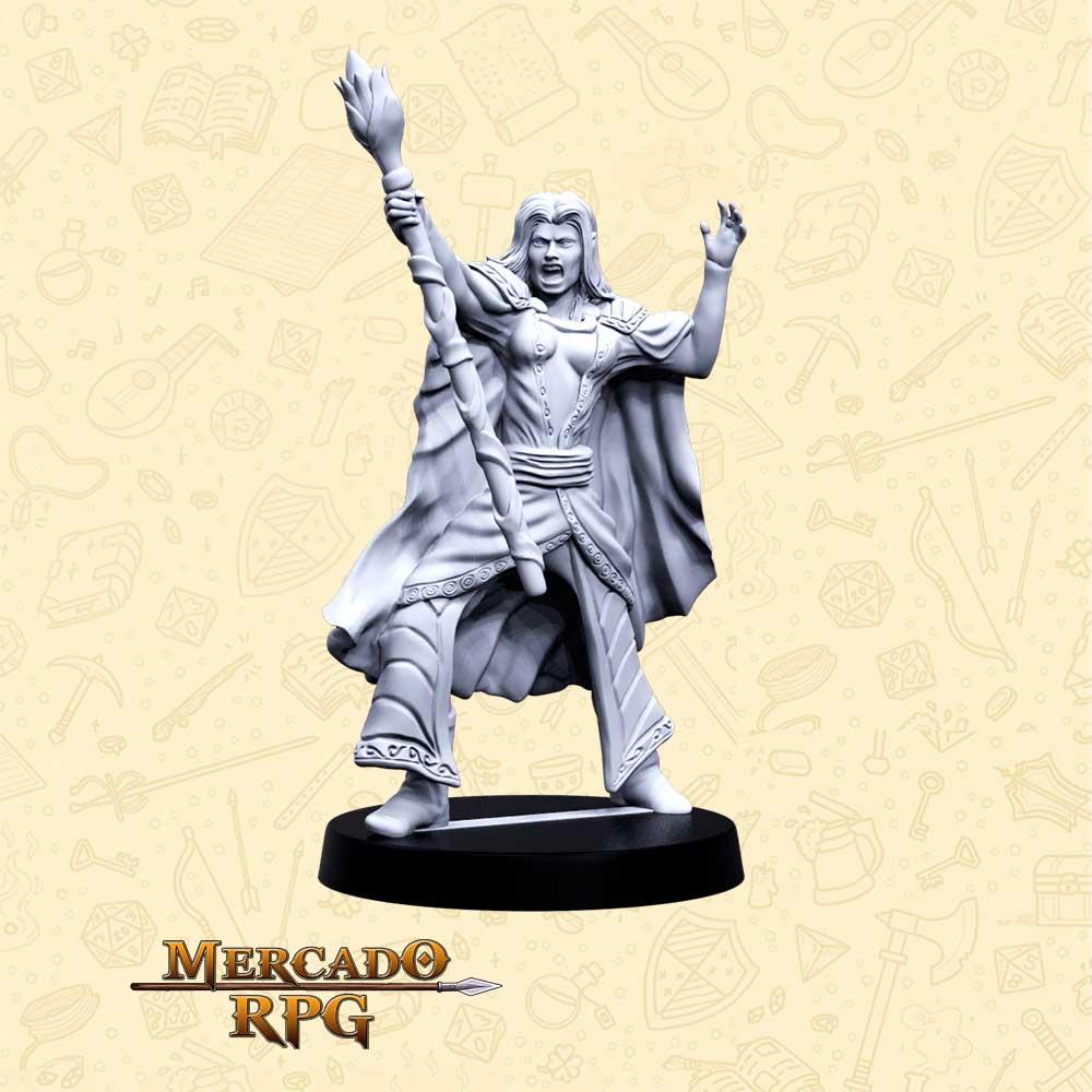 Sylvena a Rainha Branca - Basilisco Miniaturas - Metal Branco - Miniaturas para RPG