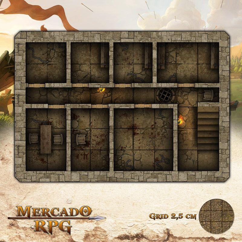 Prisão 17,5x25- RPG Battle Grid D&D  - Mercado RPG