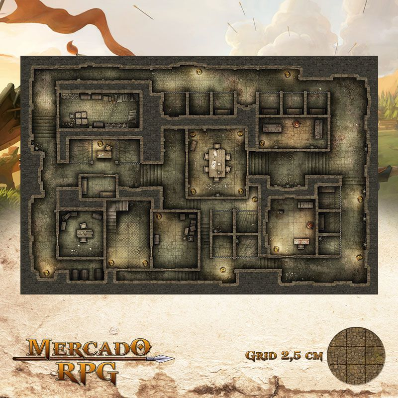 Prisão do Resgate 50x75 - RPG Battle Grid D&D  - Mercado RPG