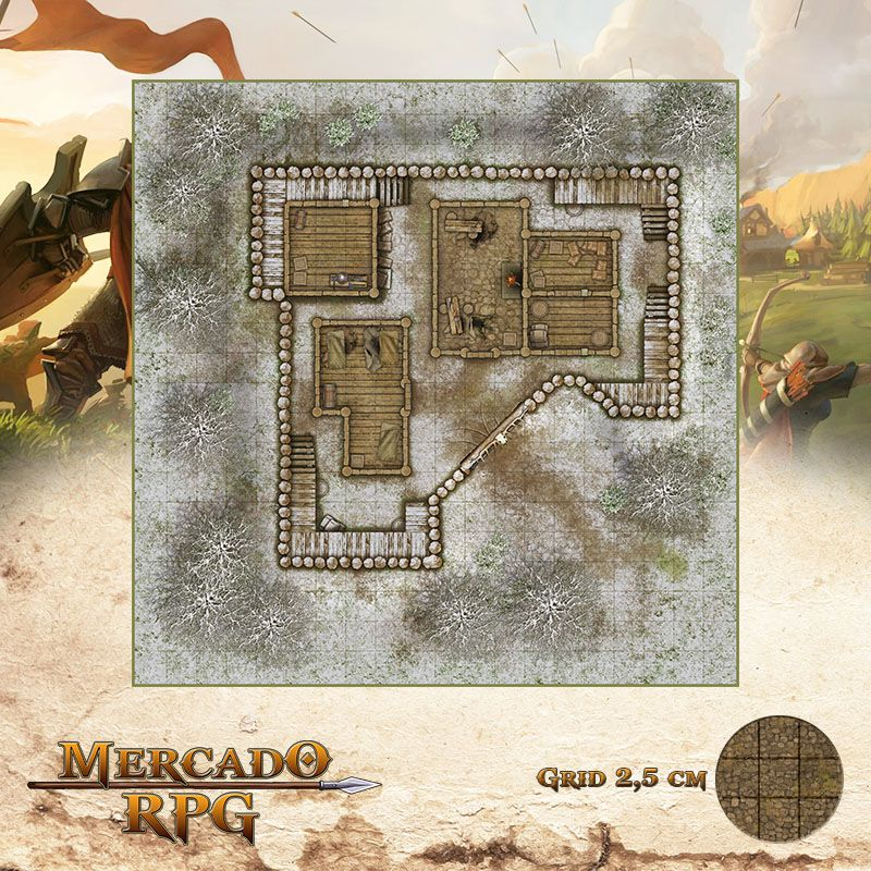 Refúgio dos Bandidos - Inverno 50x50 Grid de Batalha - RPG Battle Grid D&D