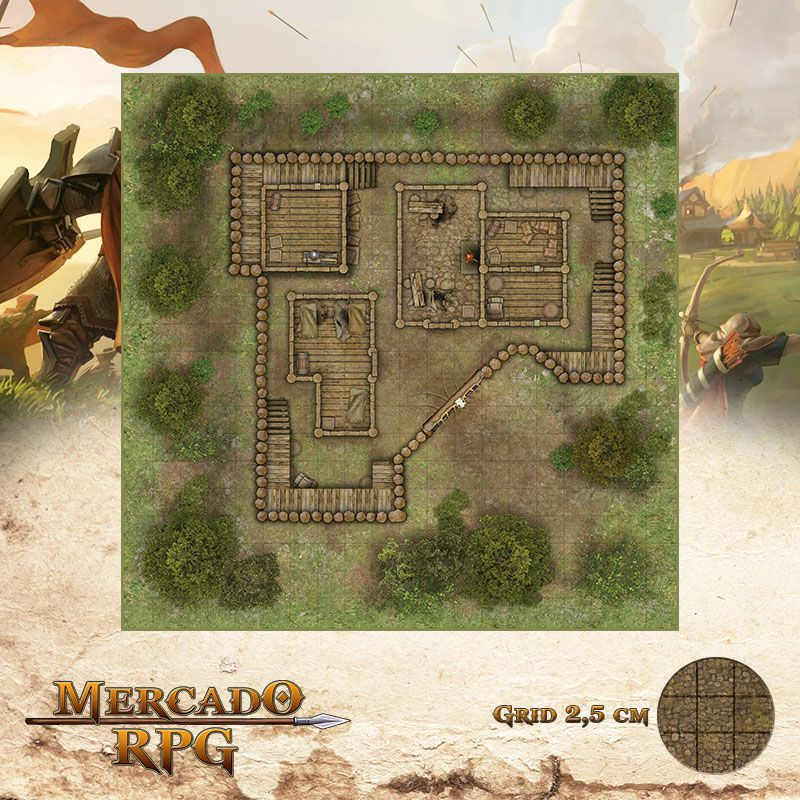 Refúgio dos Bandidos - Verão 50x50 - RPG Battle Grid D&D  - Mercado RPG