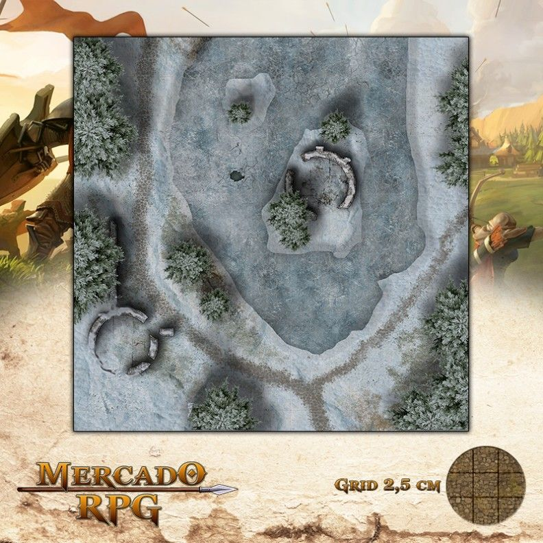 Lago Congelado 50x50 Grid de Batalha - RPG Battle Grid D&D