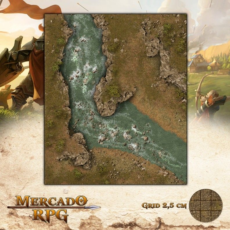 Rio de Lathander 25x30 - RPG Battle Grid D&D - Mercado RPG