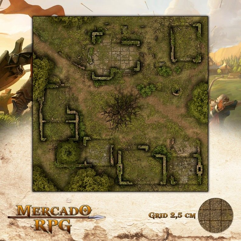 Ruínas da Aldeia 50x50 - RPG Battle Grid D&D