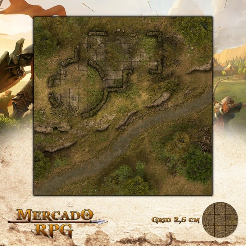 Ruínas da Encosta 50x50 - RPG Battle Grid D&D  - Mercado RPG