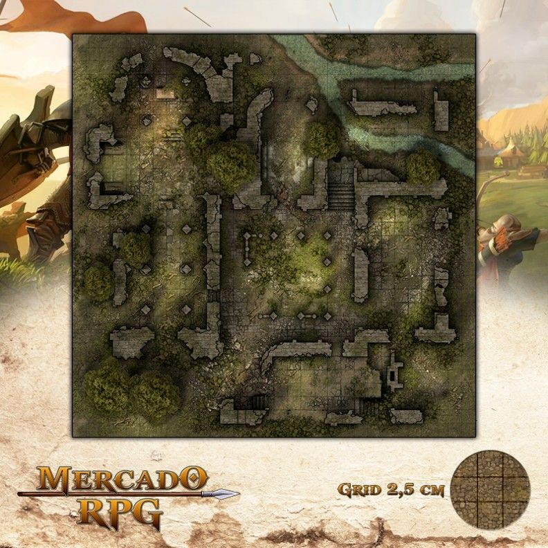 Ruínas do Cerco 75x75 - RPG Battle Grid D&D  - Mercado RPG