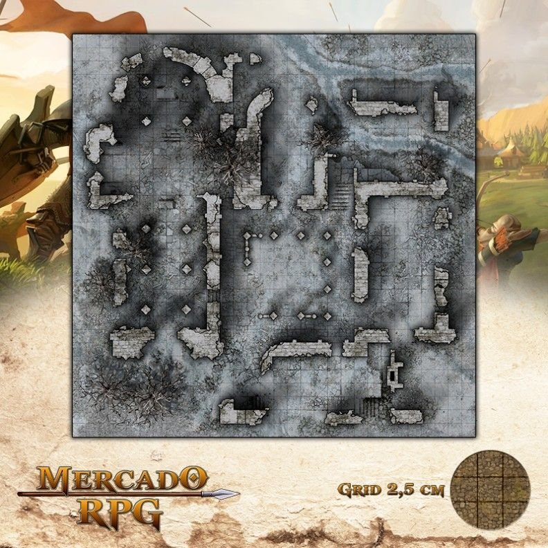 Ruínas do Cerco Inverno 75x75 - RPG Battle Grid D&D  - Mercado RPG