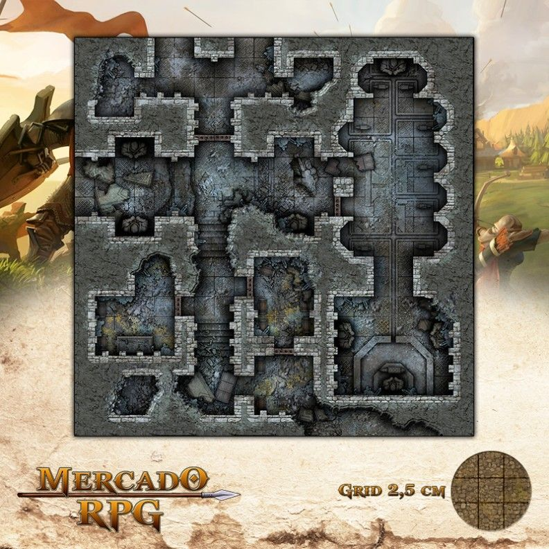 Ruínas do Forte - Cofres e Forjas 50x50 - RPG Battle Grid D&D  - Mercado RPG