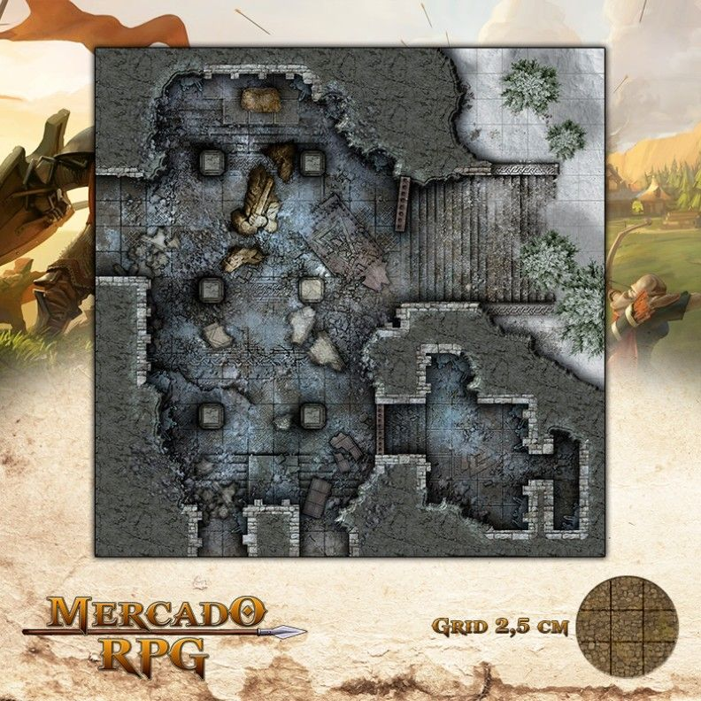 Ruínas do Forte - Entrada 50x50 Grid de Batalha - RPG Battle Grid D&D