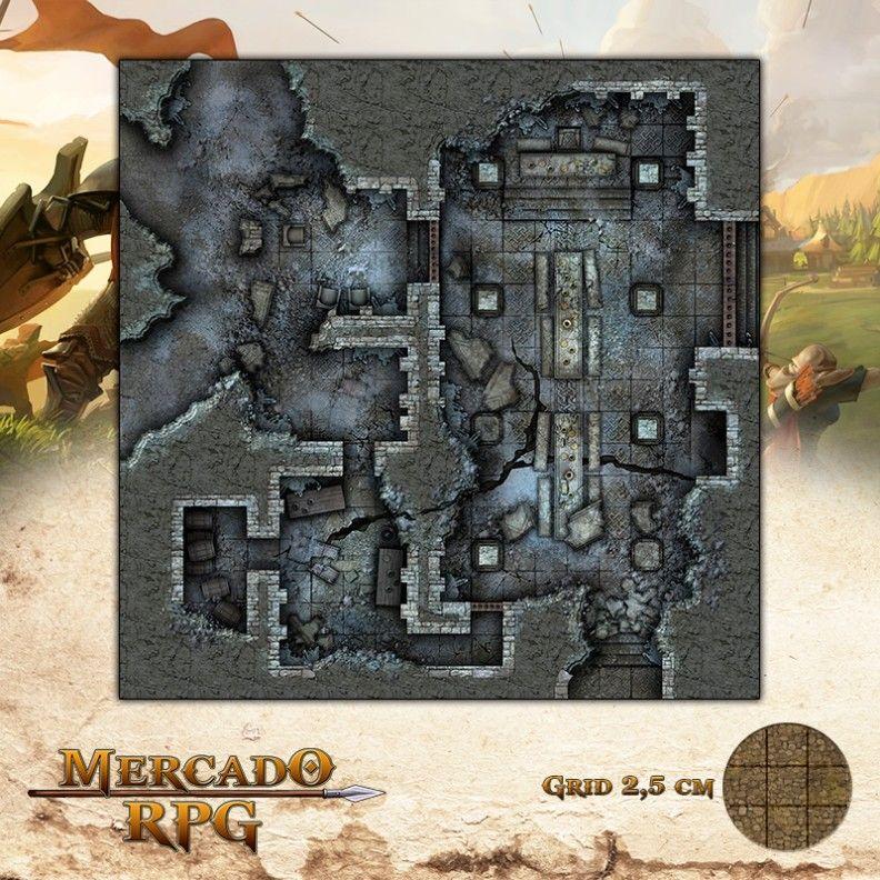 Ruínas do Forte - Salão 50x50 Grid de Batalha - RPG Battle Grid D&D
