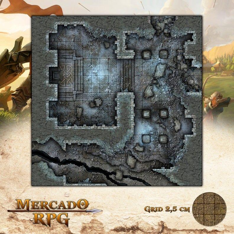 Ruínas do Forte - Salão do Líder 50x50 Grid de Batalha - RPG Battle Grid D&D