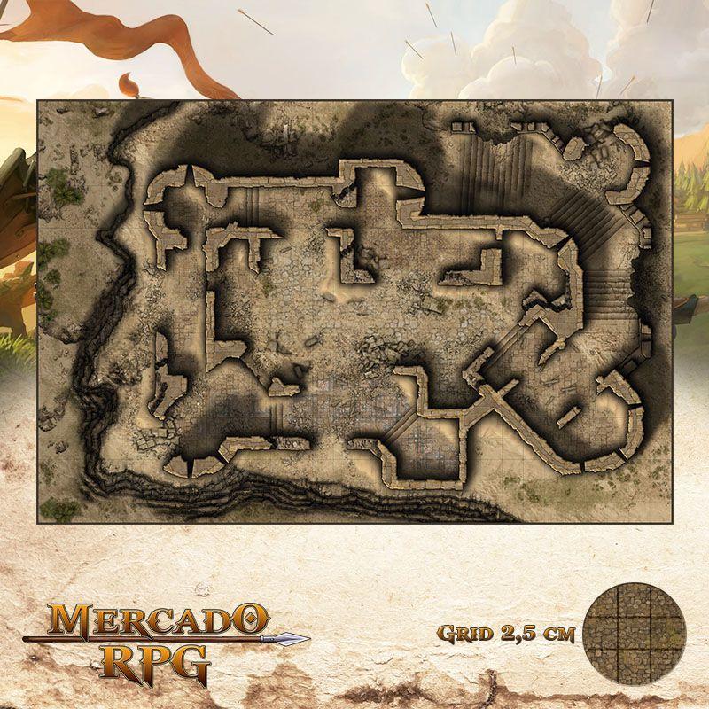 Ruínas do Monastério de Areia 50x75 Grid de Batalha - RPG Battle Grid D&D