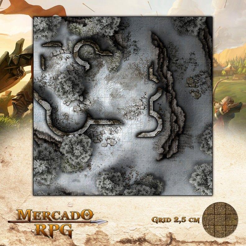 Ruínas dos Ermos Gélidos 50x50 Grid de Batalha - RPG Battle Grid D&D