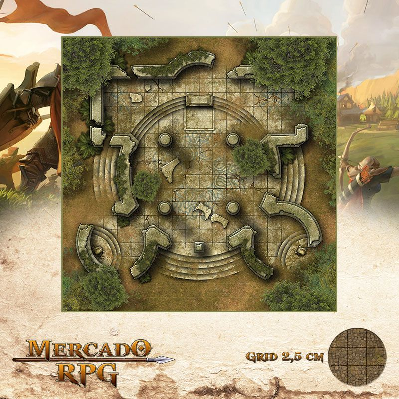 Ruínas Élficas 50x50 - RPG Battle Grid D&D - Mercado RPG