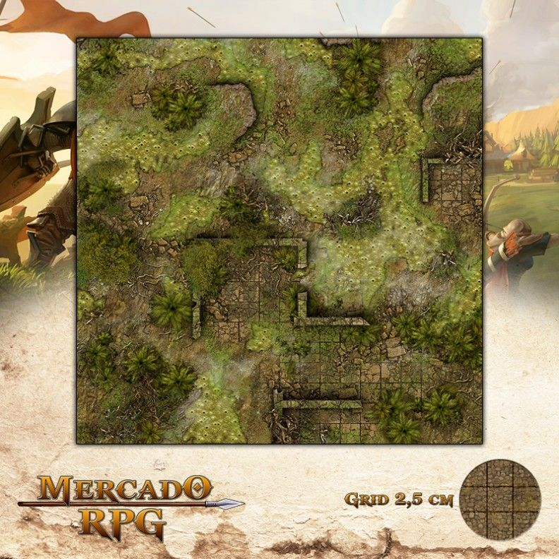 Ruínas dos Pântanos Ardentes 50x50 - RPG Battle Grid D&D  - Mercado RPG