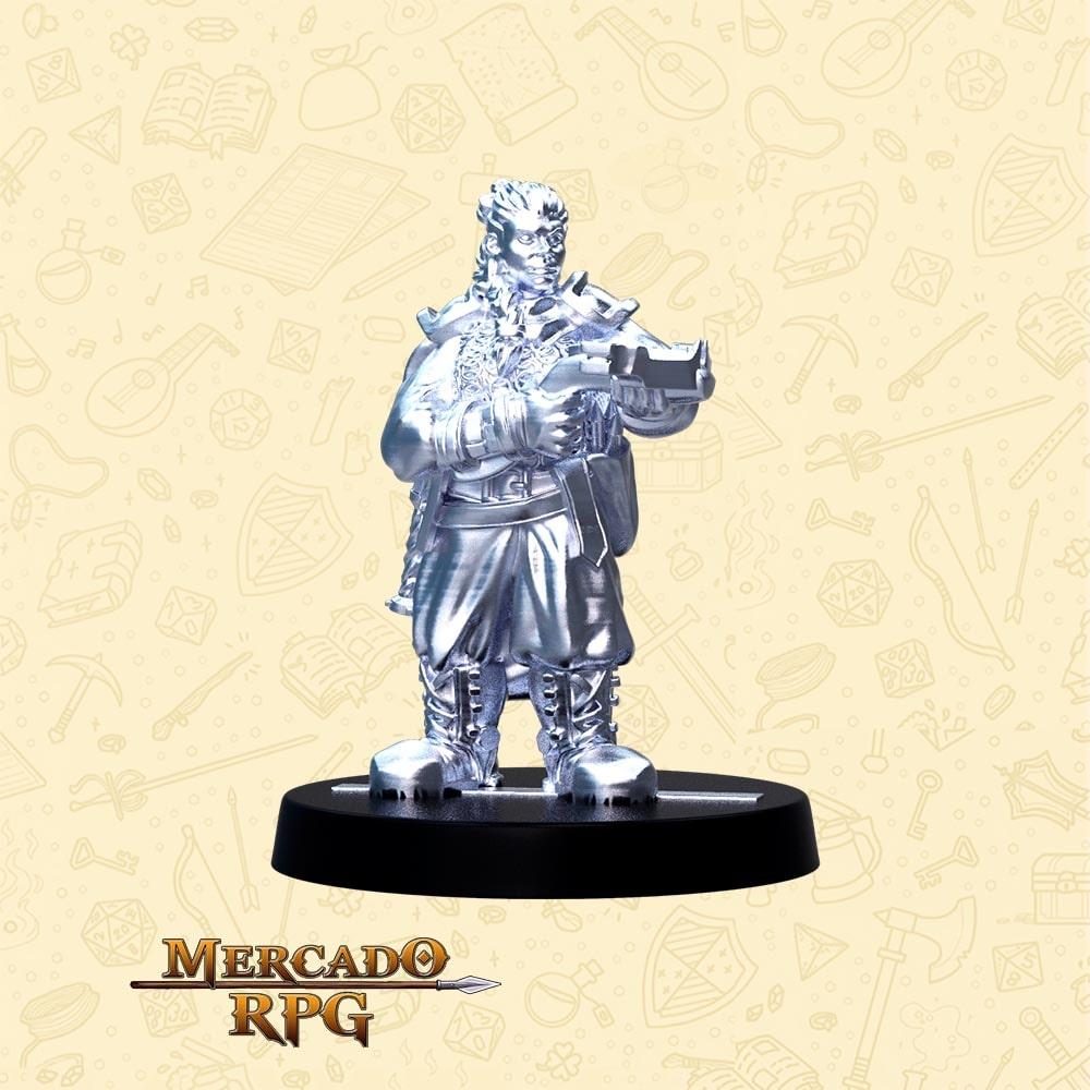 Rumna Tiro Certeiro - Basilisco Miniaturas - Metal Branco - Miniaturas para RPG