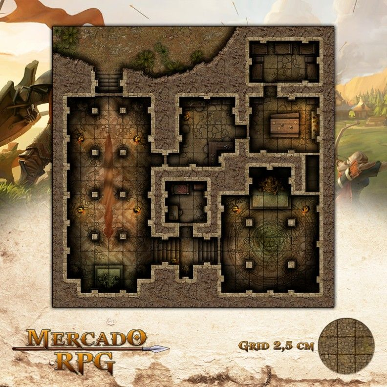 Santuário 50x50 - RPG Battle Grid D&D  - Mercado RPG