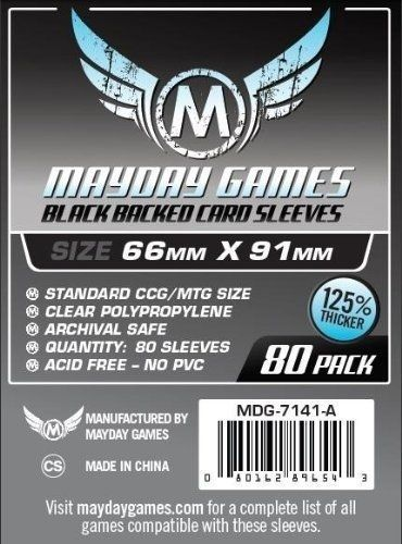 Sleeves Mayday (66x91mm) - Premium Protection Black Backed (com 80 protedores de cartas)  - Mercado RPG