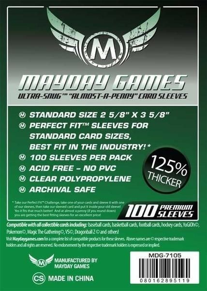 "Sleeves Mayday ""Almost-A-Penny"" Card Sleeves (2 5/8 x 3 5/8in) - Standard Protection (Com 100 protetores de cartas) - Mercado RPG"