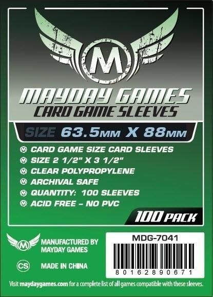 Sleeves Mayday Card Game Card Sleeves (63.5x88mm) - Standard Protection (Com 100 protetores de cartas)  - Mercado RPG