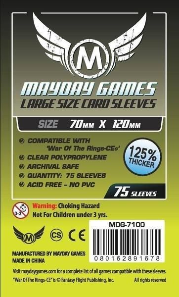Sleeves Mayday Large Card Sleeves (70x120mm) - Premium Protection (Com 75 Protetores de cartas)  - Mercado RPG