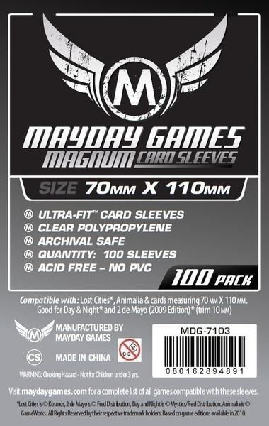 "Sleeves Mayday""Lost Cities"" Card Sleeves - Magnum Ultra-Fit (70x110mm) - Standard Protection (Com 100 protetores de cartas) - Mercado RPG"