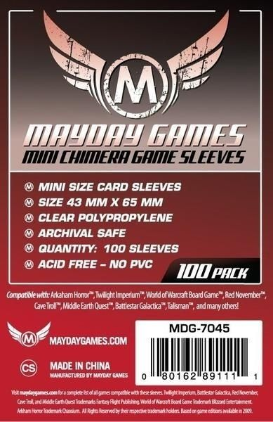 Sleeves Mayday Mini Chimera Card Sleeves (43x65mm) - Standard Protection (Com 100 protetores de cartas)  - Mercado RPG