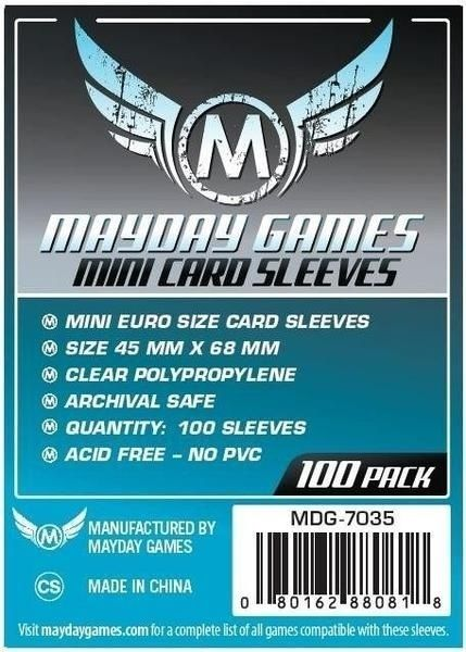 Sleeves Mayday Mini Euro Card Sleeves (45x68mm) - Standard Protection (Com 100 protetores de cartas)  - Mercado RPG