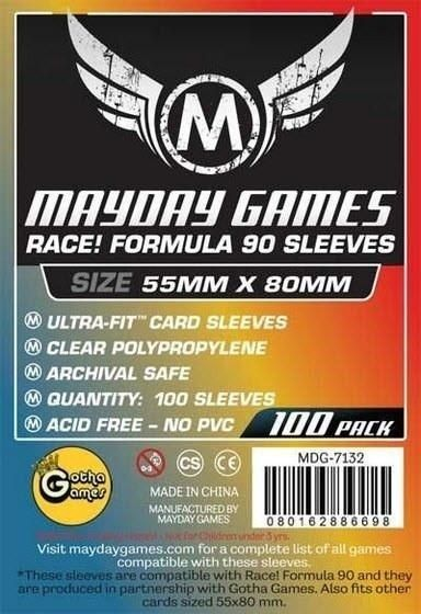 "Sleeves Mayday ""Race! Formula 90"" Card Sleeves - Ultra Fit (55x80mm) - Standard Protection (Com 100 protetores de cartas)  - Mercado RPG"