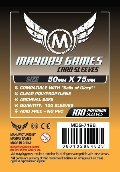 "Sleeves Mayday ""Sails of Glory"" Card Sleeves (50x75mm) - Standard Protection (Com 100 protetores de cartas)  - Mercado RPG"