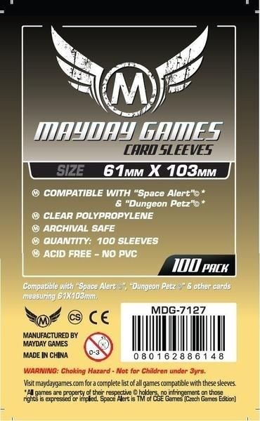 "Sleeves Mayday ""Space Alert"" & ""Dungeon Petz"" Card Sleeves (61x103mm) - Standard Protection (Com 100 protetores de cartas)  - Mercado RPG"