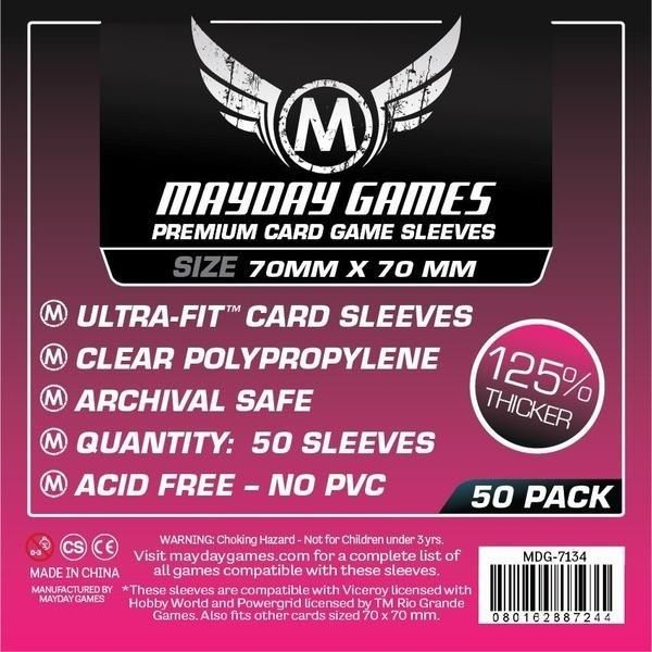 Sleeves Mayday Square Card Sleeves - Small (70x70mm) - Premium Protection (Com 50 protetores para cartas)